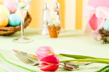 Pink Tulips On An Easter Table