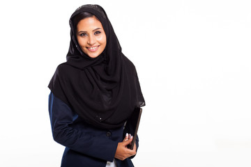 middle eastern businesswoman with tablet computer