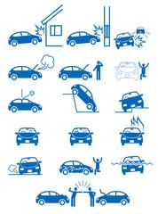自動車事故・物損・故障などトラブルのピクトグラム