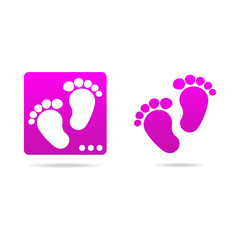logo baby footprints icon