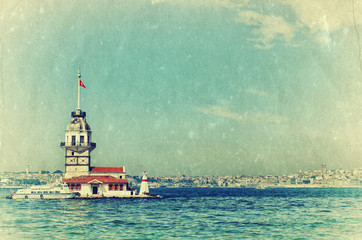 Vintage view of Maiden's Tower in Istanbul, Turkey.