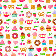 seamless pattern with fruit and sweets