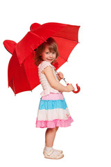 A little girl with an umbrella. Isolated on white
