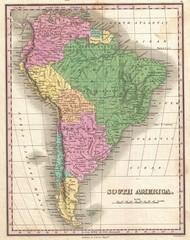 Keuken foto achterwand Wereldkaart South America vintage map