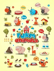 colorful animal set, vector background,animal info graphic