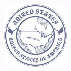 Stamp with the name and map of United States, vector