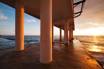 Beach Pier Sunset, seascape