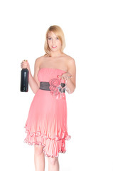 woman with bottle of wine and glass