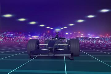 Formula 1 concept car on track 3D