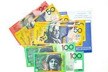 some Australian money and pay slip
