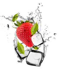 Poster In het ijs Strawberries with ice cubes, isolated on white background