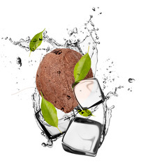 Wall Murals In the ice Coconut with ice cubes, isolated on white background