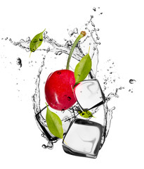 Fotobehang In het ijs Cherries with ice cubes, isolated on white background