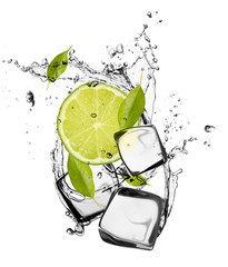 Poster In het ijs Lime with ice cubes, isolated on white background