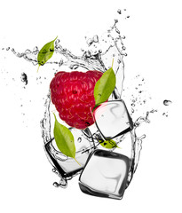 Tuinposter In het ijs Raspberry with ice cubes, isolated on white background