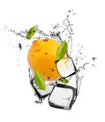Wall Murals In the ice Lemon with ice cubes, isolated on white background