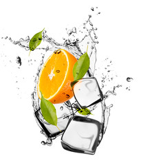 Deurstickers Opspattend water Orange with ice cubes, isolated on white background