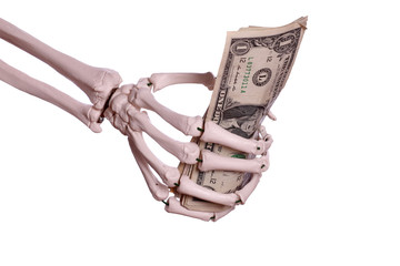 money in skeleton hand