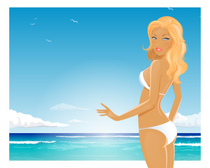 Vector Illustration of a Summer Girl in Bikini