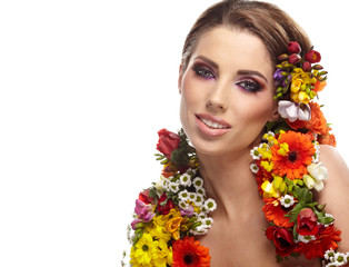 Woman with flower hairstyle