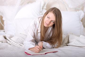 Girl writes a diary