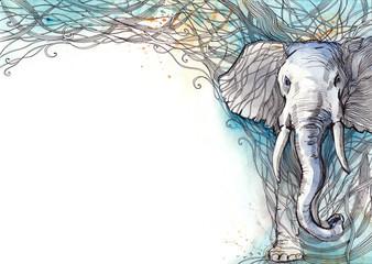 Foto auf Leinwand Gemälde elephant
