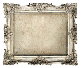 old silver frame with empty grunge canvas