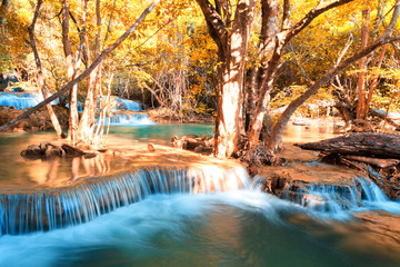 Tuinposter Natuur Autumn theme waterfall in Kanchanaburi, Thailand