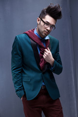 sexy fashion male model dressed elegant - casual posing