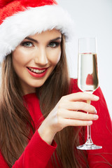 Christmas Santa hat isolated woman portrait hold wine glass.