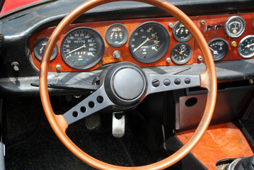 steering wheel interior of old vintage car
