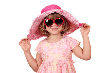 Wall Mural - beautiful little girl with sunglasses and big hat