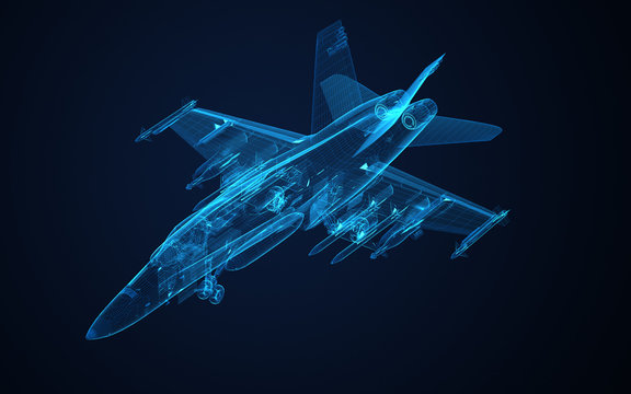 3d Wire Frame sketch of F-18 hornet