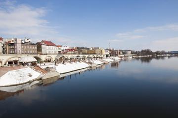 Walking on the Warta River. Gorzow Wielkopolski, Poland