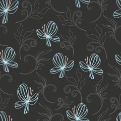 seamless butterfly and flower abstract pattern vector
