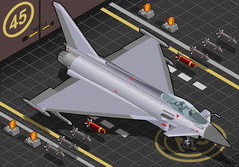 Aluminium Prints Military Isometric Eurofighter Landed in Front View