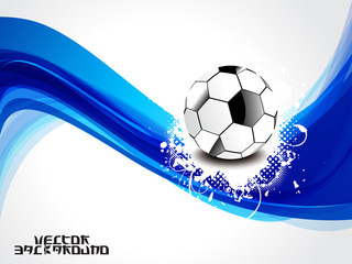 abstract blue wave background with football