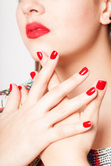Printed roller blinds Manicure MAINS VERNIS ROUGE OUVERTES FD