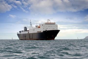 Cargo ship sailing close to coast