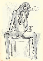 young woman smoking a cigarette on the chair