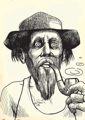 tough guy in a hat smoking a pipe