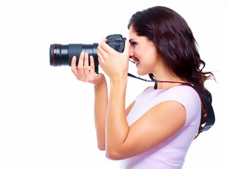 Woman with a photocamera.