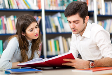 Couple of student in a library