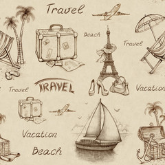 Poster Illustration Paris Seamless pattern with travel illustrations