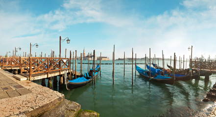 Panorama of gondola harbour in Venice. Italy. Europe.
