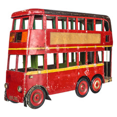 Vintage London bus toy isolated on white