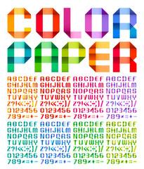 Spectral alphabet folded of paper ribbon colour