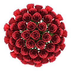 top view bouquet of red roses in vase isolated on white