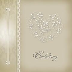 Einladungskarte Hochzeit beige