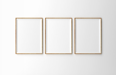 three wooden frames